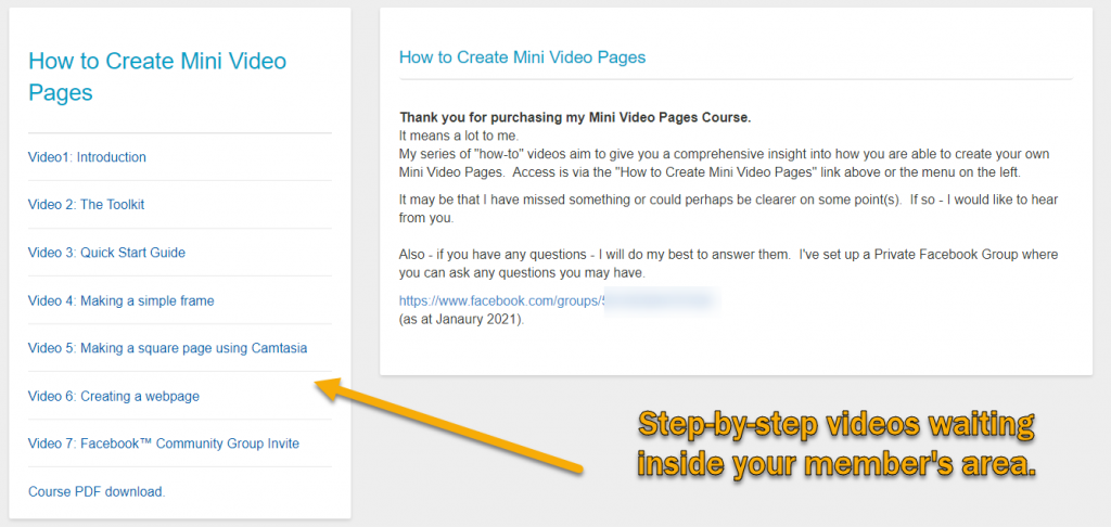 Mini Video Pages Course